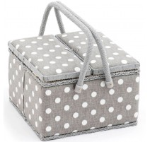 Boîte à Couture Double Couvercle - Polka Dot Grey