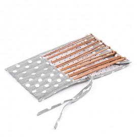 Set d'Aiguilles à Tricot avec étui de tissu - Polka Dot Grey