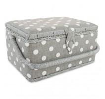 Boîte à couture - Polka Dot Grey (Moyenne)