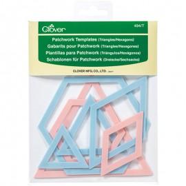 Plantillas triangulares y hexagonales para apliques y retazos - Clover