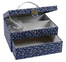 Boîte à Couture avec Anse DMC - Fleurs Bleues