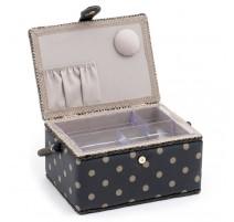 Boîte à Couture Moyenne – Charcoal Polka Dot