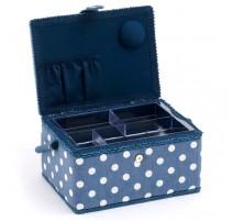 Boîte à Couture Moyenne - Denim Polka Dot