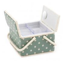 Boîte à couture avec double couvercle - Moss Polka Dot