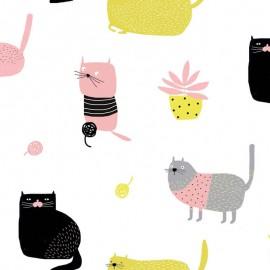 Tissu Katia Knitting Meow
