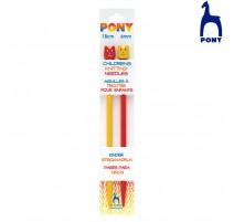 Aiguilles à tricot pour enfants Pony de 18 cm