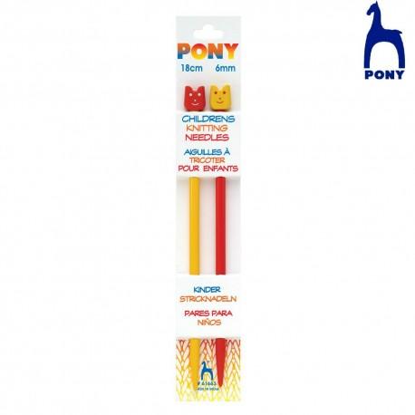 Agujas de Punto Infantiles 18 cm Pony